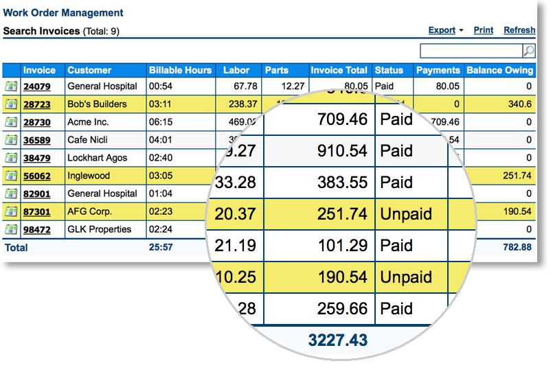 mobile field service management invoice summary