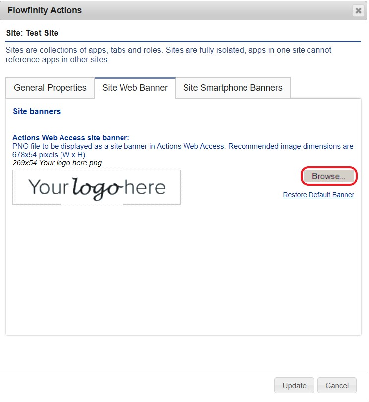 Flowfinity - Display my company logo on the portal